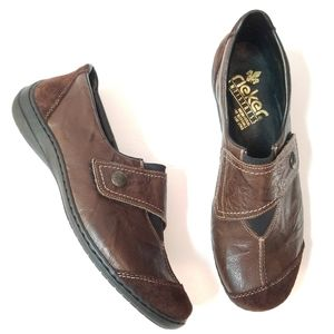 Rieker cocoa brown leather & suede loafers